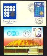LOT 3 LETTRES ROTARY INTERNATIONAL + 1 CARTE- AMERICA- BRÉSIL- TAMPONS DE 1955-68-73-81 - 2 SCANS - Rotary, Lions Club