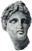 POSTAL   ARTE GRIEGO -CABEZA DE AFRODITA ( S.IV ANTES DE J.C.)  MUSEO ARQUEOLÓGICO - BARCELONA - Museos