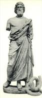 POSTAL   ARTE GRIEGO - ESTATUA DE ASKLEPIOS (ESCULAPIO) DIOS DE LA MEDICINA  (S.IV ANTES DE J.C.) MUSEO ARQ. BARCELONA - Museos
