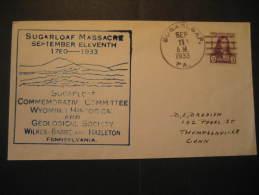 Sugarloaf 1933 to Thompsonville MASSACRE 11 September 1780 geological geology canccel cover USA