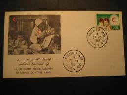 Oran 1967 Croissant Nurse Enfermera Fdc Cover Algerie Health Sante Red Cross Croix Rouge Cruz Roja - Red Cross