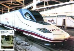 """Tarjeta Máxima Del Tren """"AVE"""" Con Sello Personalizado, En La Estación De Valencia. - Tarjetas Máxima"""