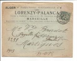 Ancienne Enveloppe Marseille 4, Rue Cannebière Lorenzy Palanca Parfumerie - France