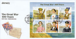 Jersey 2014 FDC WW1 Great War Part 1 Participation 6v M/S Cover Red Cross WWI - Militaria