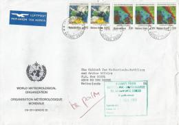 United Nations 1989 Geneva World Meteorological Organization Cartography Satellite Images Weather Cover - Genève - Kantoor Van De Verenigde Naties