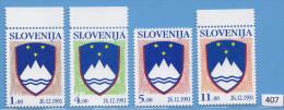 SLOVENIA 1991; Mi: 2, 3, 4, 5; MNH - Slovenia