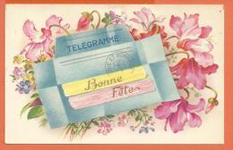 GAD-25 Télégramme Bonne Fête, Joie Et Bonheur. TRou D'épingle. Cachet 1955 - Anniversaire
