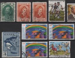 GRECE Lot De 24 TP (o) Classique Foot Monnaie Avion Poisson Château Dans Mythologie Carte  ... - Collections