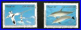 BRAZIL 1992  BIRDS & DOLPHINS  SC#2352-53 MNH CV$4.25 ANIMALS, MARINE LIFE (3ALL)