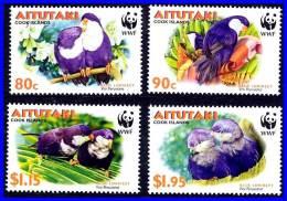 AITUTAKI 2002 WWF BIRDS PARROTS SC#533-36 MNH - Birds