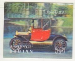 BHUTAN  128 A   *  3  D  STAMP    ANTIQUE  CAR  FORD - Holograms