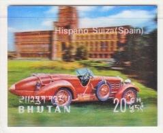 BHUTAN  128 D   *  3  D  STAMP    ANTIQUE  CAR  HISPANO  SUIZA - Holograms
