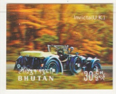 BHUTAN  128 E   *  3  D  STAMP    ANTIQUE  CAR  INVICTA  ( UK ) - Holograms