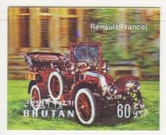 BHUTAN  128 F   *  3  D  STAMP    ANTIQUE  CAR  RENAULT - Holograms