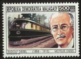 Rudolf Diesel,  Invention Of The Diesel Engine, Train, Locomotive, Railway, Transport, MNH Madagascar - Eisenbahnen