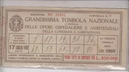 Grandissima Tombola Nazionale - Lotteria - Opere Ospedaliere Della Lunigiana E Garfagnana - - Biglietti Della Lotteria