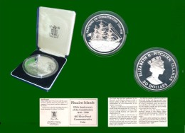 Pitcairn Islands 5 Oz Silber 150 Jahre Verfassung 50 Dollars 1988 PP, 0 Ca.6,6 Cm In Plastikbox Und Etui (1 Stück) (M16) - Pitcairn