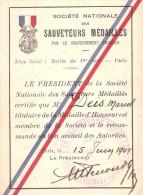 CARTE MEMBRE SOCIETE NATIONALE SAUVETEUR MEDAILLE HONNEUR 1944