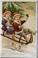 LITHO Chromo Relief  WB&Co Enfants Enfant Bonnet Rouge Sur Luge Jack Russel Voyagé 1913 Timbre Reich Belgien Forrieres - Scenes & Landscapes