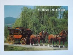 CARTE POSTALE - FRANCE - VOYAGE DANS LE TEMPS - ST JEAN DU GARD -MAÏL COACH 1868 - ED. DIN - Taxi & Carrozzelle
