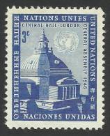 UN New York, 3 c. 1958, Sc # 61, MNH