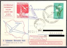 Poland 1963  9th Glider Flight Champions  - Mail Gliding Card - Airmail