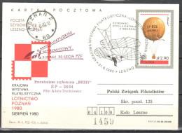 Poland 1980  - Flown Glider Postcard - Airmail