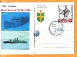 "Croatia 2014 Y Postcard Overprint Famous Ships Sinking Of ""Baron Gautsch"" Ann. Postmark Pula 13.08. - Croatie"