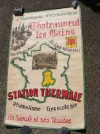 Affiche ancienne originale Touristique Chateauneuf les Bains du 04 Station thermale La Sioule et ses truites