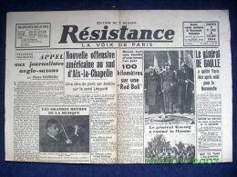 """Journal """"RESISTANCE"""" (VOIX DE PARIS) #59 Guerre War WW2 Krieg 39 45 Aix-la-Chapelle Allemagne ! - Otros"""