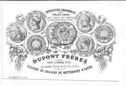 Carte Publicité  Dupont Frères à Pont à Marcq 59 Napoléon III Culture Graines Betteraves à Sucre Lith Boldodur à Lille - Publicités