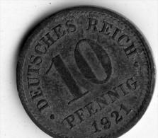 Germany 10 Pfennig 1921 - [ 2] 1871-1918 : German Empire