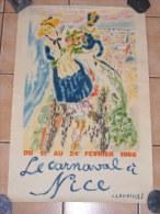 Affiche ancienne originale Carnaval de Nice 1966 par Jules Cavailles imprimerie Mourlot