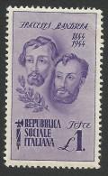 Italy, Social Republic, 1 L. 1944, Scott # 33, MH - 4. 1944-45 Social Republic