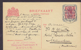 Netherlands Postal Stationery Ganzsache Entier 12½ C Auf 5 C Overprinted ZWOLLE 1921 To MÜNCHEN Germany (2 Scans) - Postal Stationery