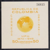 Columbia MNH Scott #587 Souvenir Sheet 50c Eastern Hemisphere - 75th Anniversary Of UPU - Colombie