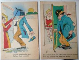 Lot 2x Litho Ancienne Illustrateur Bilingue Homme Ivre Rentrant Chez Lui Porte Femme Balai Rouleau Patisserie - Humour