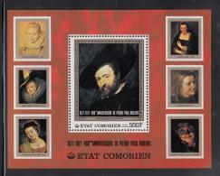 Comoro Islands MNH Scott #267 Souvenir Sheet 500fr Self-portrait - Peter Paul Rubens - Comores (1975-...)