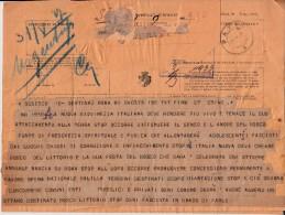 DOPPIO TELEGRAMMA DI B. MUSSOLINI DEL 30/MAGGIO/1927-ALLA NUOVA GOVINEZZA.......LEGGERE