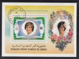 Comoro Islands Used Scott #548 Souvenir Sheet 500fr Princess Diana's 21st Birthday - Comores (1975-...)