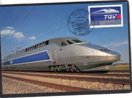 Yvert 2607 TGV Atlantique FDC Carte Maximum Nantes 1989 - Trains