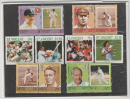 TUVALU / ST. VINCENT / NEVIS / GRENADINES OF ST. VINCENT - Little Collection Of Famous Champions Of Cricket, Baseball... - Cricket