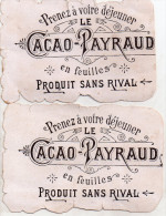 "Lot De 2 Chromos Le "" Cacao - Payraud "" - Chocolat"