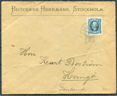 1903 Sweden Stockholm Cover - Hango Hanko Aland Finland