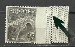 ANDORRA- VARIEDAD SELLOS TALADRO MUY DESPLAZADO, SOLO EXISTEN 12 EJEMPLARES  CONOCIDOS MAS 3  ROTOS Nº 64a (S-2-C-09-14) - Unused Stamps