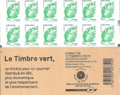 """CARNET 604-C 1a Marianne Verte LETTRE VERTE  """"LE TIMBRE VERT"""" Avec Double Carré Noir Sur N° 100. Bas Prix, A SAISIR - Carnets"""