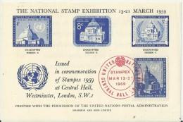 UNITED NATIONS /UNITED KINGDOM 1959 - SPECIAL SOUVENIR SHEET STAMPEX MARCH 13-23 CENTRAL HALLN W 1 ISSUED STAMP OF 3 C ( - Covers & Documents