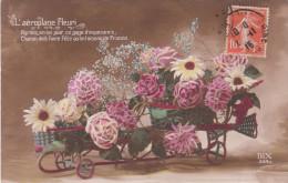 Carte Postale Ancienne Fantaisie - Fleur - Patriotique - L'oiseau De France - L'aéroplane Fleuri - Fêtes - Voeux