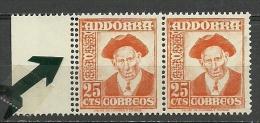 ANDORRA- CORREO ESPAÑOL VARIEDAD DOBLE PERFORACION SELLO DE LA IZQUIERDA MUY RARO(S-2.C.09,14) - Andorra Española