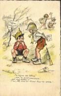 """GERMAINE BOURET Carte FRANCO ANGLAISE """" Tu Reçois Des Lettres ? No, A Sait Pas écrire ! Get Any Letters ?  GB 14 - Bouret, Germaine"""